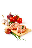 Fresh pork meat steaks with vegetables