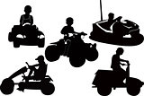 children kids in children's transport in Park of attractions
