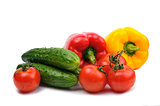 Fresh colorful vegetables isolated on a white background