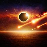Full sun eclipce, asteroid impact