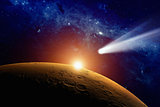 Comet approaching Mars