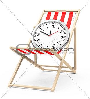Clock on a beach chair