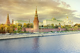 Autumn view of Moscow Kremlin at sunset.