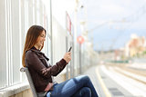 Happy woman texting on a smart phone in a train station