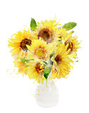 Watercolor Image Of Sunflowers Bouquet