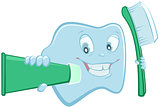 Tooth holds toothpaste and toothbrush