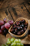 Olives and grapes