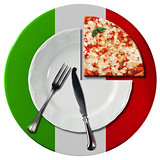 Italian Pizza - Plate and Cutlery
