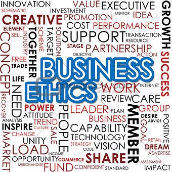 Business ethics word cloud cloud image