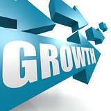 Growth arrow in blue