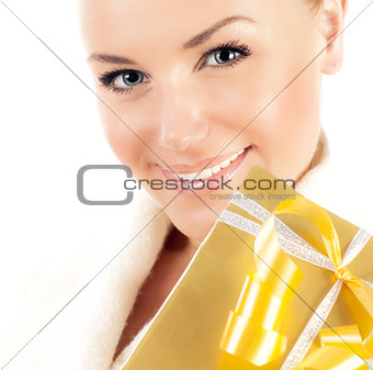 Close up on smiling face with gift box