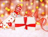 Holiday background with cute snowman