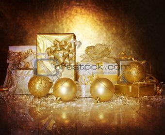 Christmastime gift boxes