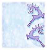 Christmas holiday card, festive background, reindeer decorative