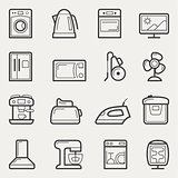 Home appliances icons: washing machine, teapot, Oven, TV, refrig