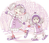 two girls skate