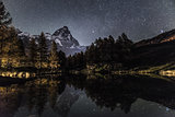 Mount Cervino and Blue Lake in an autumn night