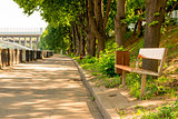 benches in the pedestrian zone on the promenade