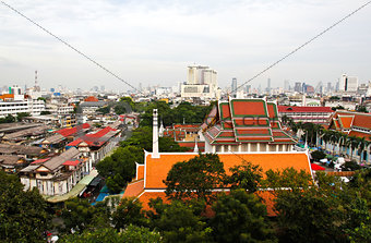 aerial view of Bangkok from Golden Mount and part of Wat Saket,
