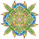 marijuana sativa indica leaf symbol kaleidoscope