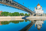 famous temple of Christ the Savior and the bridge