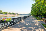 embankment of the Moscow River on a sunny summer morning