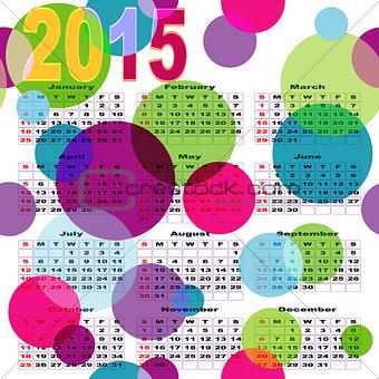 Calendar with bright colored balls
