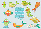 Cute cartoon sea fishes set