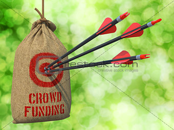 Crowd Funding - Arrows Hit in Red Mark Target.