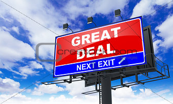 Great Deal Inscription on Red Billboard.