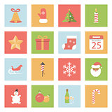 Christmas and New Year flat icons set