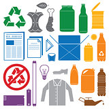 recycling and various waste color icons