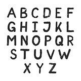 Hand drawn alphabet design. Grunge style letters