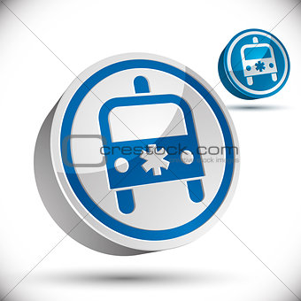 Ambulance emergency 3d car icon.