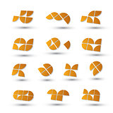 Geometric 3d simple symbols set, abstract vector abstract icons.