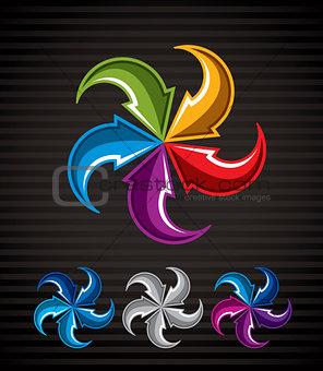 Abstract arrows vector symbol, vector graphic design template, v