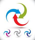 Arrows abstract loop symbol, vector conceptual pictogram templat