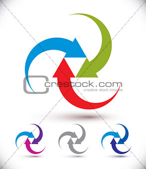 Arrows abstract loop symbol, vector conceptual pictogram templat