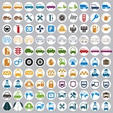 100 car and transport icons.