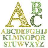 Beautiful floral letters font, vector alphabet.