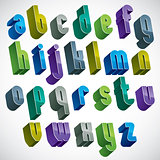 3d colorful letters alphabet, dimensional font in blue and green
