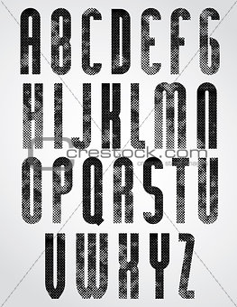 Black dotty graphic upper case letters, rounded industrial font.