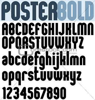 Poster black bold extensive font and numbers.
