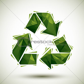 Green recycle geometric icon made in 3d modern style, best for u
