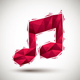 Red musical note geometric icon made in 3d modern style, best fo