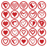 25 heart icons set.