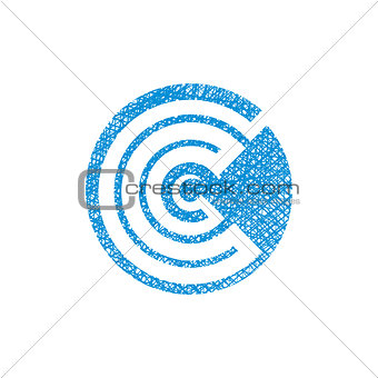 Abstract icon, vector symbol with hand drawn lines texture.