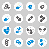 Medical pills icons set, vector collection.