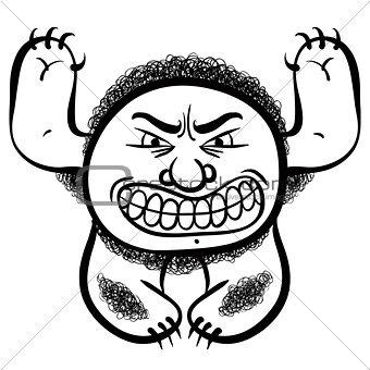 Angry cartoon monster, black and white lines vector illustration