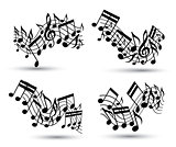 Vector black jolly wavy staves with musical notes on white backg